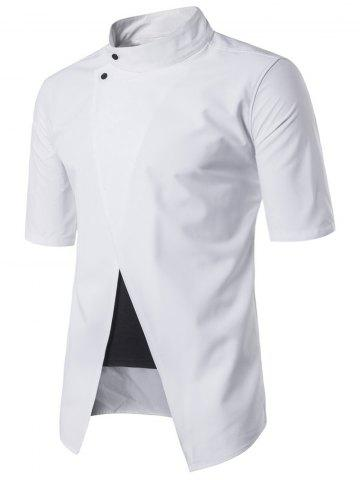 Faux Twinset Panel Stand Collar Short Sleeve Shirt - White - 2xl