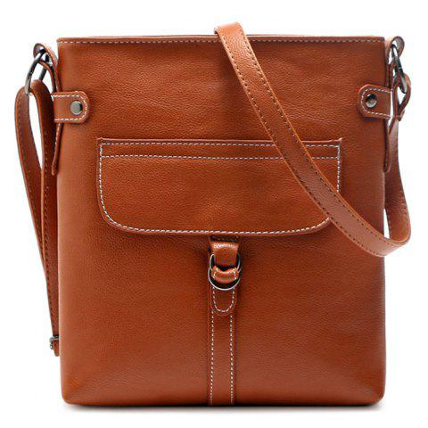 Faux Leather Stitching Crossbody Bag - Earthy - 40
