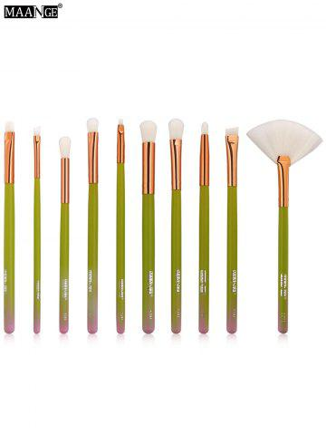 MAANGE 10Pcs Ombre Makeup Brushes Set - Green