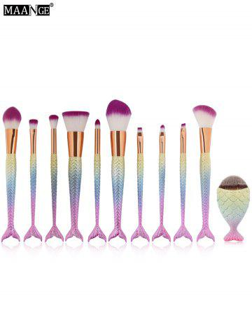 Outfits MAANGE 11Pcs Mermaid Tail Makeup Brushes with Chunky Foundation Brush - SHALLOW PINK  Mobile