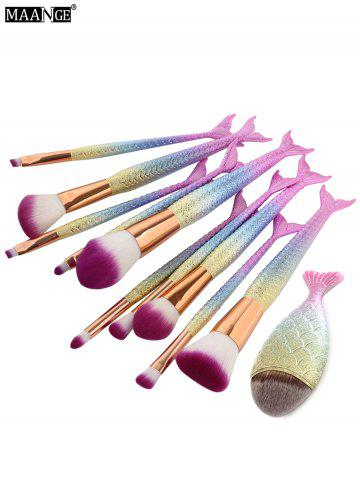 Store MAANGE 11Pcs Mermaid Tail Makeup Brushes with Chunky Foundation Brush - SHALLOW PINK  Mobile