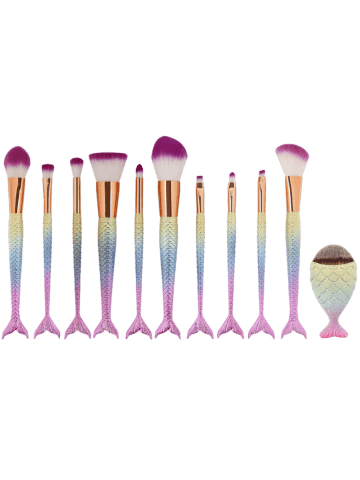 Latest MAANGE 11Pcs Mermaid Tail Makeup Brushes with Chunky Foundation Brush - SHALLOW PINK  Mobile