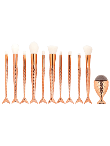 Online MAANGE 11Pcs Mermaid Tail Makeup Brushes with Chunky Foundation Brush - ROSE GOLD  Mobile