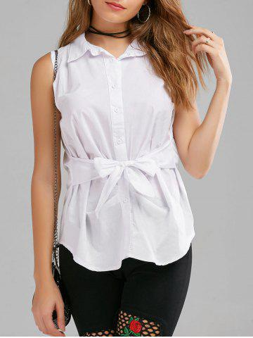 Button Up Sleeveless Shirt with Belt - White - L