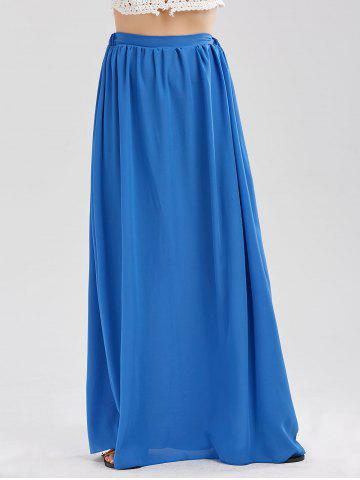 Casual Floor Length Chiffon Skirt - Blue - Xl