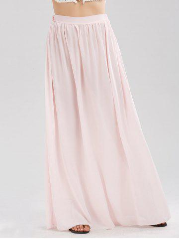 Casual Floor Length Chiffon Skirt - Pink - S
