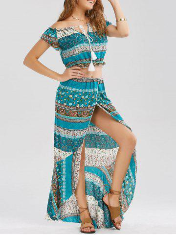 Latest Tribal Print Slit Two Piece Flowy Beach Dress - S GREEN Mobile