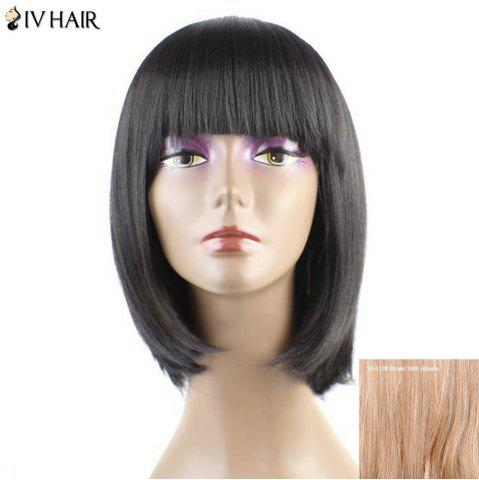New Siv Hair Neat Bang Straight Short Bob Human Hair Wig - BROWN WITH BLONDE  Mobile