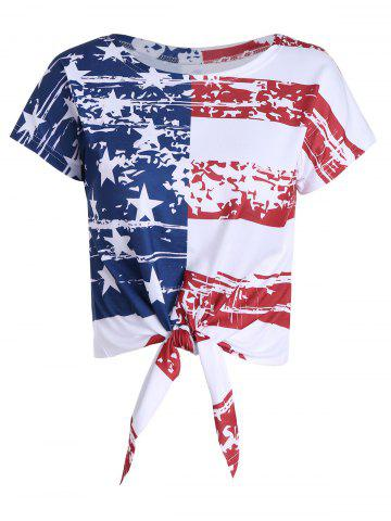 Distressed American Flag Tie Front Crop Top - Colormix - Xl