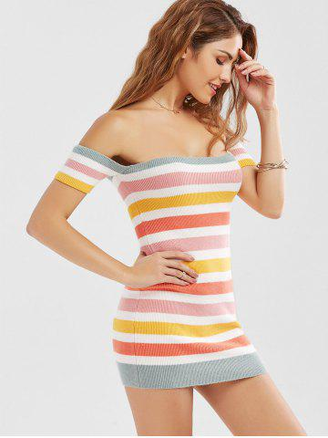 New Knitted Colorful Striped Off The Shoulder Dress - S COLORMIX Mobile