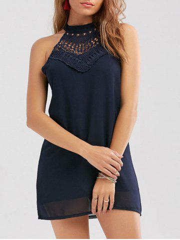 Trendy Crochet Lace Panel Cut Out Sleeveless Dress