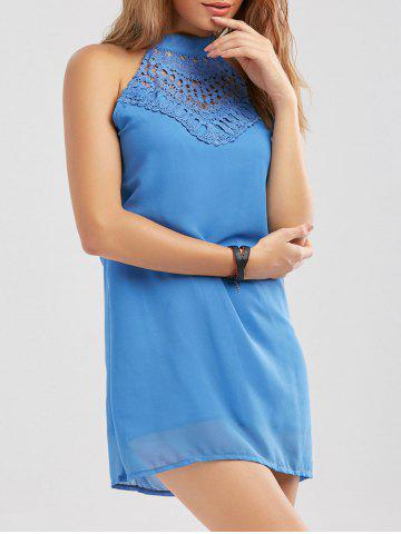 Online Crochet Lace Panel Cut Out Sleeveless Dress - 2XL WINDSOR BLUE Mobile