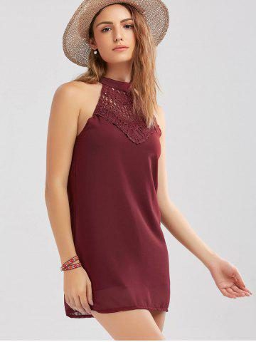 Sale Crochet Lace Panel Cut Out Sleeveless Dress - 2XL WINE RED Mobile
