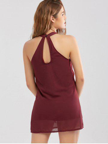 Discount Crochet Lace Panel Cut Out Sleeveless Dress - 2XL WINE RED Mobile
