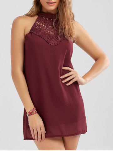 Crochet Lace Panel Cut Out Sleeveless Dress Rouge vineux  S