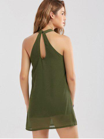 Shops Crochet Lace Panel Cut Out Sleeveless Dress - 2XL ARMY GREEN Mobile