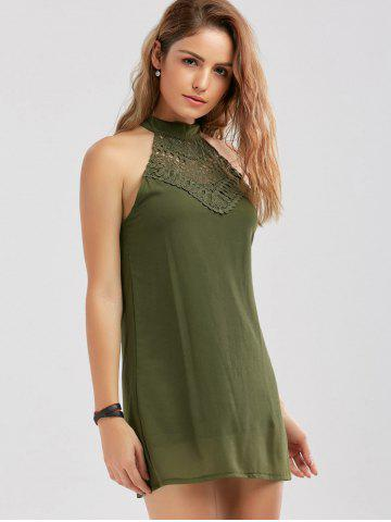 Store Crochet Lace Panel Cut Out Sleeveless Dress - 2XL ARMY GREEN Mobile
