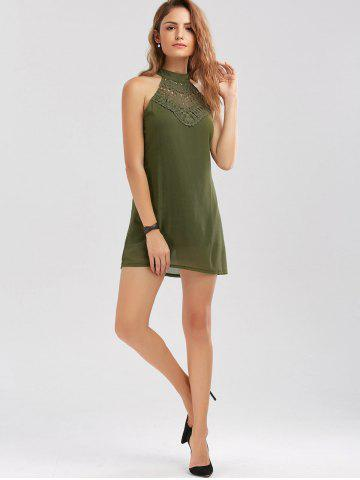 Outfit Crochet Lace Panel Cut Out Sleeveless Dress - 2XL ARMY GREEN Mobile