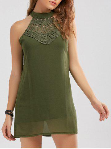 Crochet Lace Panel Cut Out Sleeveless Dress Vert Armée L