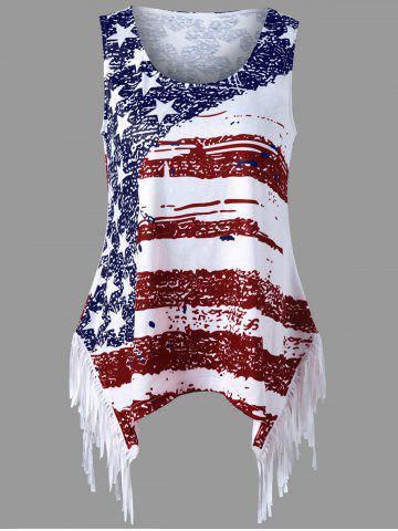Affordable Fringe American Flag Tank Top CLARET XL