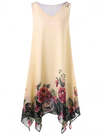 Hot Plus Size Floral Sleeveless Handkerchief Dress - 5XL APRICOT Mobile