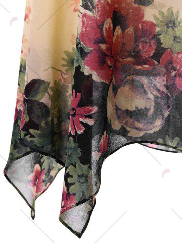 Outfits Plus Size Floral Sleeveless Handkerchief Dress - 5XL APRICOT Mobile