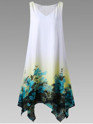 Latest Plus Size Floral Sleeveless Handkerchief Dress