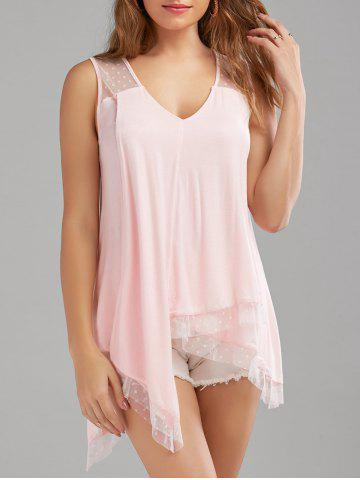 Sheer Dot Sleeveless Handkerchief Blouse - Shallow Pink - 2xl