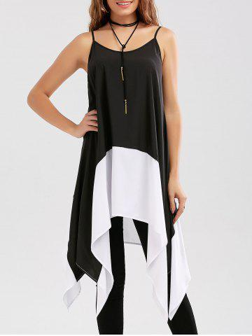 Best Two Tone Longline Handkerchief Cami Blouse WHITE AND BLACK XL
