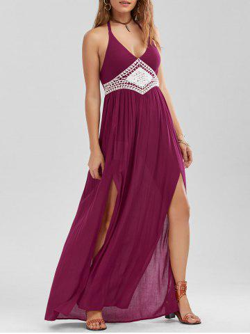 Crochet Panel Halter Neck Slit Dress - Pearl Amaranth - 2xl