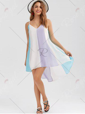 Chic High Low Hem Summer Flowy Mini Cami Dress - M COLORMIX Mobile