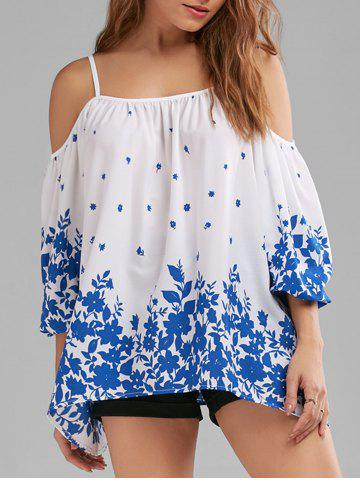 Floral Dew Shoulder Blouse - Blue And White - 2xl