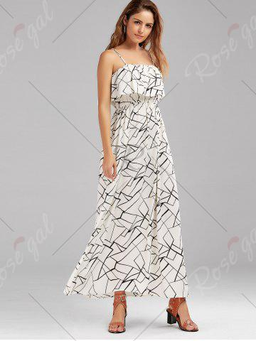 Discount Print Overlay Flounce Maxi Flowing Beach Dress - XL WHITE AND BLACK Mobile