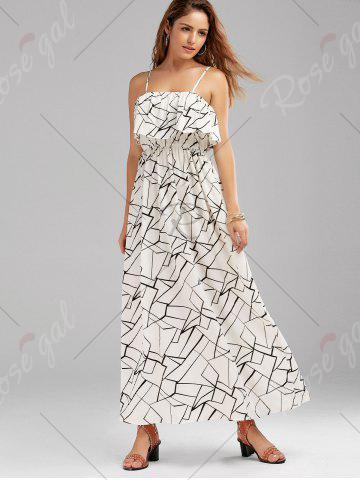 Chic Print Overlay Flounce Maxi Flowing Beach Dress - XL WHITE AND BLACK Mobile
