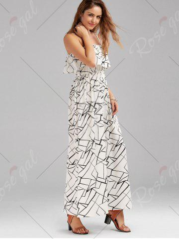 Affordable Print Overlay Flounce Maxi Flowing Beach Dress - XL WHITE AND BLACK Mobile