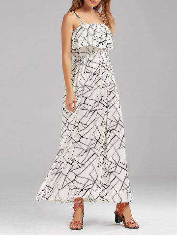 Outfit Print Overlay Flounce Maxi Flowing Beach Dress - XL WHITE AND BLACK Mobile