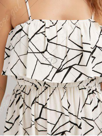 Fashion Print Overlay Flounce Maxi Flowing Beach Dress - XL WHITE AND BLACK Mobile