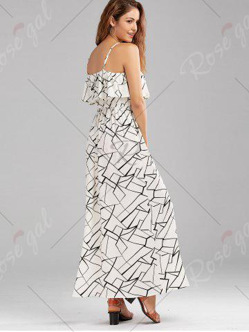 New Print Overlay Flounce Maxi Flowing Beach Dress - XL WHITE AND BLACK Mobile