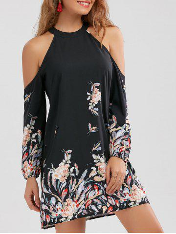 Long Sleeve Floral Border Print Shift Dress - Black - M