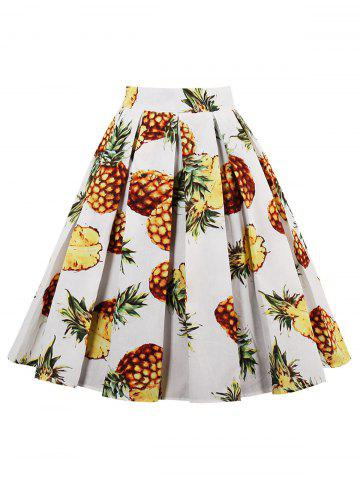 Best Pineapple Print High Waisted Pleated Skirt WHITE 2XL