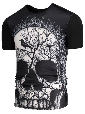 3D Skull Branch Printed Round Neck T-shirt - Black - Xl