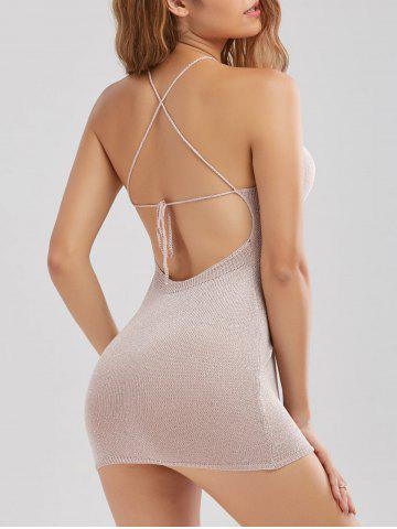 Sale Knitted Criss Cross Backless Sheer Mini Dress - ONE SIZE SHALLOW PINK Mobile