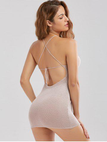 Shop Knitted Criss Cross Backless Sheer Mini Dress - ONE SIZE SHALLOW PINK Mobile