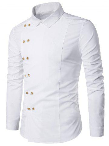 Double Breasted Turndown Collar Long Sleeve Shirt - White - L