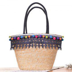 Straw Lace Pom Pom Tote Bag