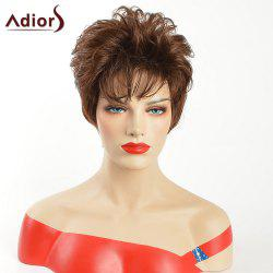 Adiors Inclined Bang Short Layered Natural Straight Synthetic Wig - GOLD BROWN