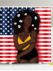 Afro Hair Girl American Flag Patriotic Shower Curtain