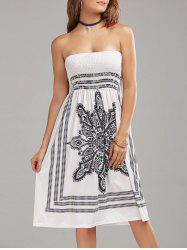 Tribal Print Bohemian Strapless Dress - WHITE