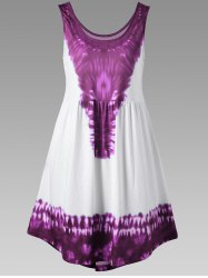 Tie Dye Curved Hem Sleeveless Dress - VIOLET ROSE