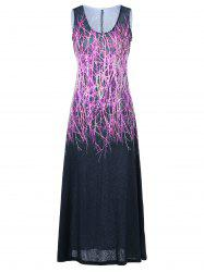 U Neck Graphic Sleeveless Dress - PURPLE